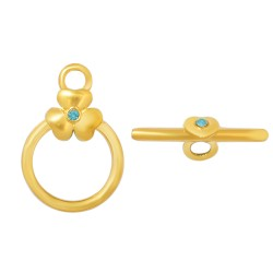 Stainless Steel Toggle Clasp Flower with Rhinest, one 23x15x5,5  mm, Gold Color, Blue Strass  - 1 pc