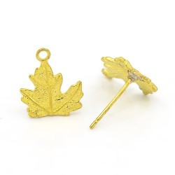 Brass Leaf Earstud 11x10 mm, Gold Color Plated - 2 pcs