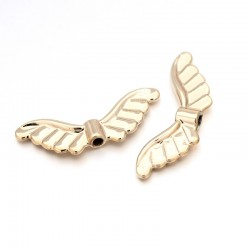 Angel Wings,  24x9x3  mm,  Unfading Gold Color  Plated -  2 pcs