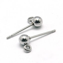 Stainless Steel Ball  Ear Stud  15x6x4 mm  -  2 pcs