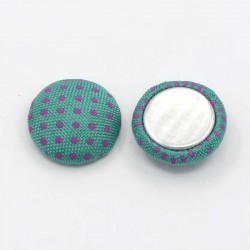 Half Dome Fabric Covered Cabochon, with Aluminum Bottom, 12,5 mm Green/Fuchsia - 2 pcs
