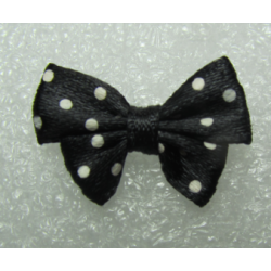 Fabric Ribbon  24x17-18  mm Black White Dots - 2  pcs