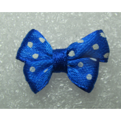 Fiocchetto  in Tessuto  24x17-18  mm  Blu pois bianchi-   2 pz