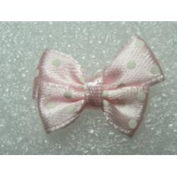 Fiocchetto  in Tessuto  24x17-18  mm  Rosa  pois bianchi-   2 pz