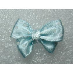 Fiocchetto  in Tessuto  24x17-18  mm  Azzurro  pois bianchi-   2 pz