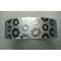 Stickers Adesivi con Glitters 14,5 mm Fiori  Argento - 1 Rotolo da circa  3 m