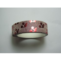 Stickers with Glitters 14,5 mm Burgundy Patterns - 1 Roll of about 3 m