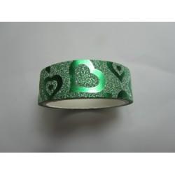 Stickers Adesivi con Glitters 14,5 mm Cuori Verde - 1 Rotolo da circa  3 m