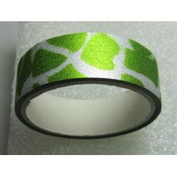 Stickers Adesivi con Glitters 14,5 mm Disegni Verde Brillante Bianco - 1 Rotolo da circa  3 m