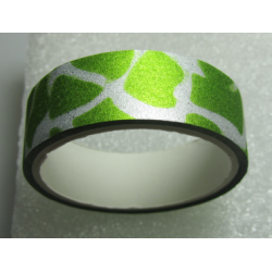 Stickers with Glitters 14,5 mm Bright Green and White Patterns - 1 Roll of about 3 m