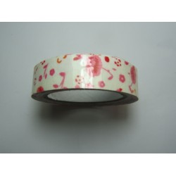 Adhesive Tape Flower Patterns 15 mm Pink Flowers and Cream Background - 1 Roll of about 5 m