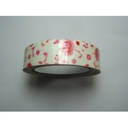Nastro Adesivo Soggetti Floreali  15 mm  Fiori Rosa Sfondo Panna- 1 Rotolo da circa  5 m