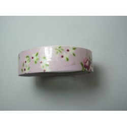 Adhesive Tape Flower Patterns 15 mm Pink /White Flowers and Pink Background - 1 Roll of about 5 m