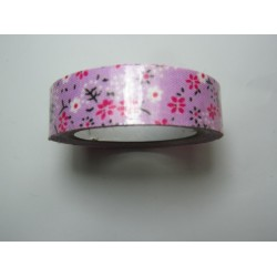 Adhesive Tape Flower Patterns 15 mm Fuchsia/White Flowers and Pink Background - 1 Roll of about 5 m