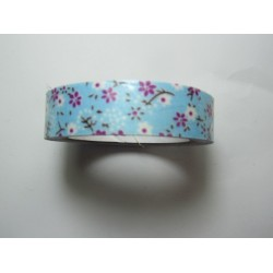 Adhesive Tape Flower Patterns 15 mm Fuchsia/White Flowers and Light Blue Background - 1 Roll of about 5 m