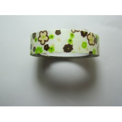 Adhesive Tape Flower Patterns 15 mm Green/Brown Flowers and Cream Background - 1 Roll of about 5 m