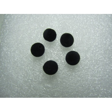 Velvet Fabric Resin Round  Beads  8  mm, Black - 10 pcs