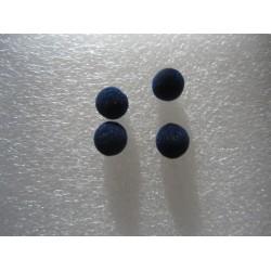 Perle Tonde rivestite in Tessuto tipo Velluto  8  mm Blu - 10 pz