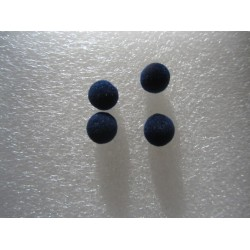Velvet Fabric Resin Round Beads 8 mm, Blue - 10 pcs