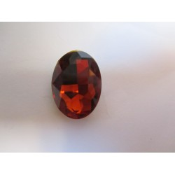Oval Faceted Glass Cabochon 18 x 25  mm  Cognac  - 1 pc