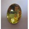Oval Faceted Glass Cabochon 18 x 25  mm  Light Yellow- 1 pc