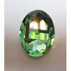 Oval Faceted Glass Cabochon 18 x 25  mm  Peridot - 1 pc