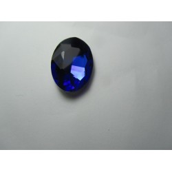 Oval Faceted Glass Cabochon 18 x 25  mm  Cobalt  - 1 pc