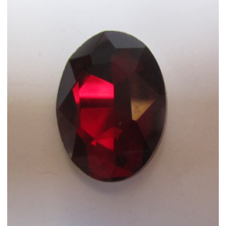 Oval Faceted Glass Cabochon 18 x 25  mm  Siam - 1 pc