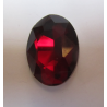 Oval Faceted Glass Cabochon 18 x 25  mm  Dark Ruby- 1 pc