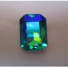 Rectangular Faceted  Glass Cabochon  18x13 mm Aquamarine AB  - 1 pc