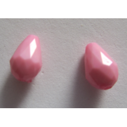 Acrylic Faceted  Drops  12x8  mm Pink  - 2 pcs