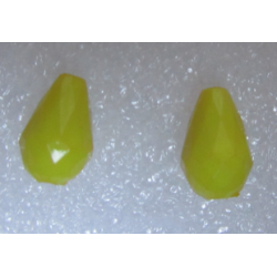 Acrylic Faceted  Drops  12x8  mm Yellow   - 2 pcs