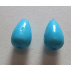 Acrylic  Drops  15x9  mm  Turquoise Blue   - 2 pcs
