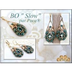 Slow  Earrings  Kit  By Puca  Aqua Bronze/Gold  version  (material kit)