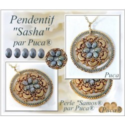 Kit Pendente Sasha  By Puca  versione  Blue-Green/Gold  (kit materiali)