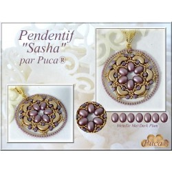 Sasha  Pendant  Kit  By Puca  Blue-Green/Gold  version  (material kit)
