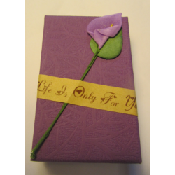 Cardboard Box for Jewelry 80x50x30 mm Purple with Calla Lily - 1 pc
