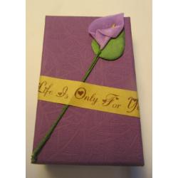 Scatola Cartone per Bijoux  80x50x30 mm  Viola con Calla  - 1 pz