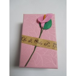 Cardboard Box for Jewelry 80x50x30 mm Pink with Calla Lily - 1 pc