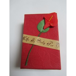 Cardboard Box for Jewelry 80x50x30 mm Red with Calla Lily - 1 pc
