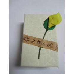 Cardboard  Box for Jewelry 80x50x30 mm  Cream with Calla Lily - 1 pc