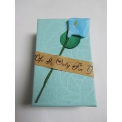 Cardboard Box for Jewelry 80x50x30 mm Cream with Calla Lily - 1 pc