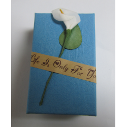 Cardboard Box for Jewelry 80x50x30 mm Turquoise Blue with Calla Lily - 1 pc