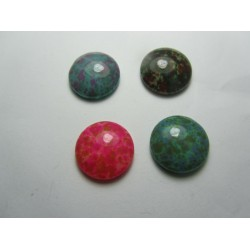 Round Spray Painted Glass Cabochons 16 mm Mixed Colours - 4 pcs