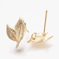 Brass Leaf  Ear Stud  15,5x10  mm  Gold  Color  - 2  pcs