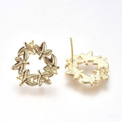 Brass Wreath Ear Stud  18,5x16,5 mm Gold  Color Plated - 2  pcs