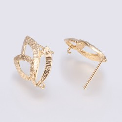 Brass Bossed Leaf  Ear Stud   22x14,5 mm  Long Lasting Gold  Color Plated - 2  pcs