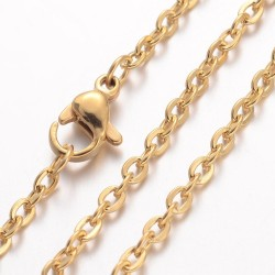 Stainless Steel Chainlet  60  cm Long with Lobster Clasp, size  3x2,3x0,5 mm , Gold Colour - 1 pc