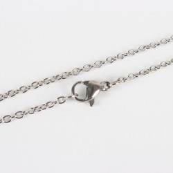 Stainless Steel Chainlet  55  cm Long with Lobster Clasp, size  1,9x1 mm - 1 pc