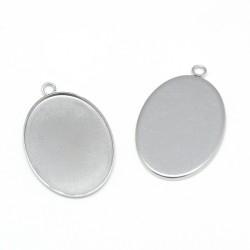 Oval Pendant Stainless Steel Cabochon Setting  29x18,5    mm , fits 25x18 mm Cabochon - 1 pc